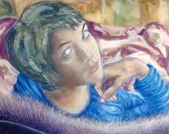 "Whimsical art : ""Elodie's lair"", woman portrait, mixed media painting, watercolor artwork, wall decoration, original decor"