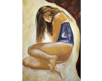 Art dessin de femme, peinture au pastel, tableau image de femme, art tableau grand format, design art décoration, cadeau pièce unique