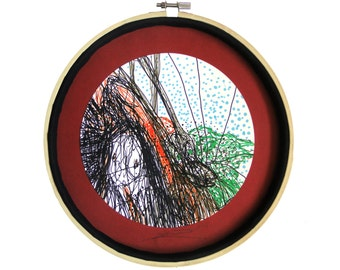 """Art maison : """"Cache-cache avec l'ornithorynque"""" dessin techniques mixtes, déco mandala, décoration originale, art intuitif, pièce unique"""