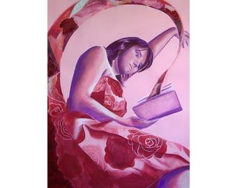Art dessin de femme, peinture au pastel, tableau image de femme livre, art tableau grand format, design art décoration, cadeau pièce unique