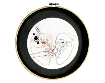 """Déco art : """"Monsieur Gauche et Madame Droite"""", Dessin techniques mixtes, mandala, décoration originale, art intuitif, cercle, pièce unique"""