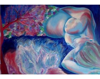 Tableau de femme, peinture dessin de nu, art image femme sirène, tableau grand format, design art décoration, cadeau pièce unique