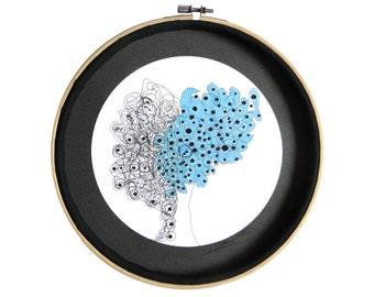"""Art fantaisie : """"L'amandier entoilé"""" dessin techniques mixtes, déco design cercle, mandala, décoration originale, art intuitif, pièce unique"""