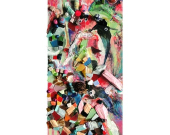 """Oeuvre unique : """"La réunion des oiseaux"""", peinture techniques mixtes, collage d'art, tableau décoration, mosaïque d'art, pièce unique"""