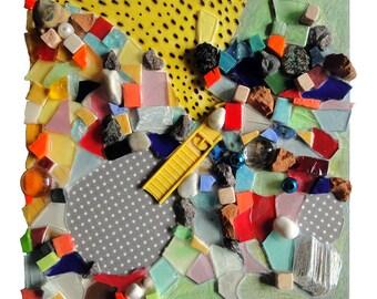 """Déco enfant : """"Dodo dans la parade"""", artisanat techniques mixtes, mosaïque d'art, collage fait main, peinture décoration, pièce unique"""