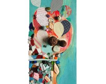 """Déco art : """"La maison de Piou"""", artisanat techniques mixtes, collage d'art, tableau peinture, décoration mosaïque, pièce unique"""
