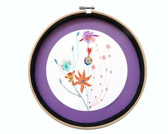 """Art intuitif : """"Le bouquet"""", art dessin techniques mixtes, déco originale cercle, tableau rond, mandala, pièce unique"""
