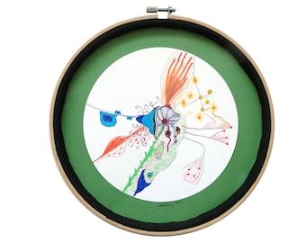 """Art intuitif : """"La plante à épines"""" art dessin techniques mixtes, déco originale cercle, tableau rond, mandala, pièce unique"""