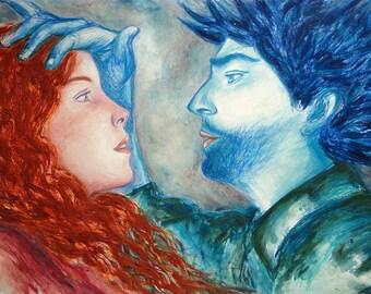 """Art premier amour, """"l'embuscade"""", peinture techniques mixtes, image couple romance, tableau grand format, design décoration, pièce unique"""