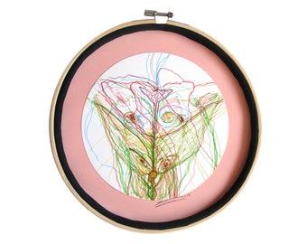 """Art intuitif : """"Le Fennec apprivoisé"""", art dessin techniques mixtes, déco originale cercle, tableau rond, mandala, pièce unique"""