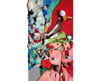 """Déco ours : """"Sortie à ski"""", peinture techniques mixtes, collage d'art, artisanat mosaïque, tableau décoration, pièce unique"""