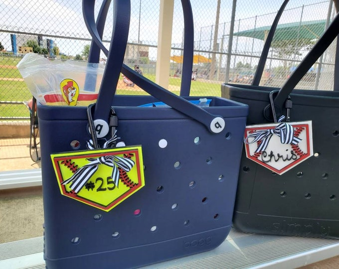 Featured listing image: Baseball Mom Accessories- Softball Mom Accessories- Personalized Bag Tag - Baseball Bag Charm