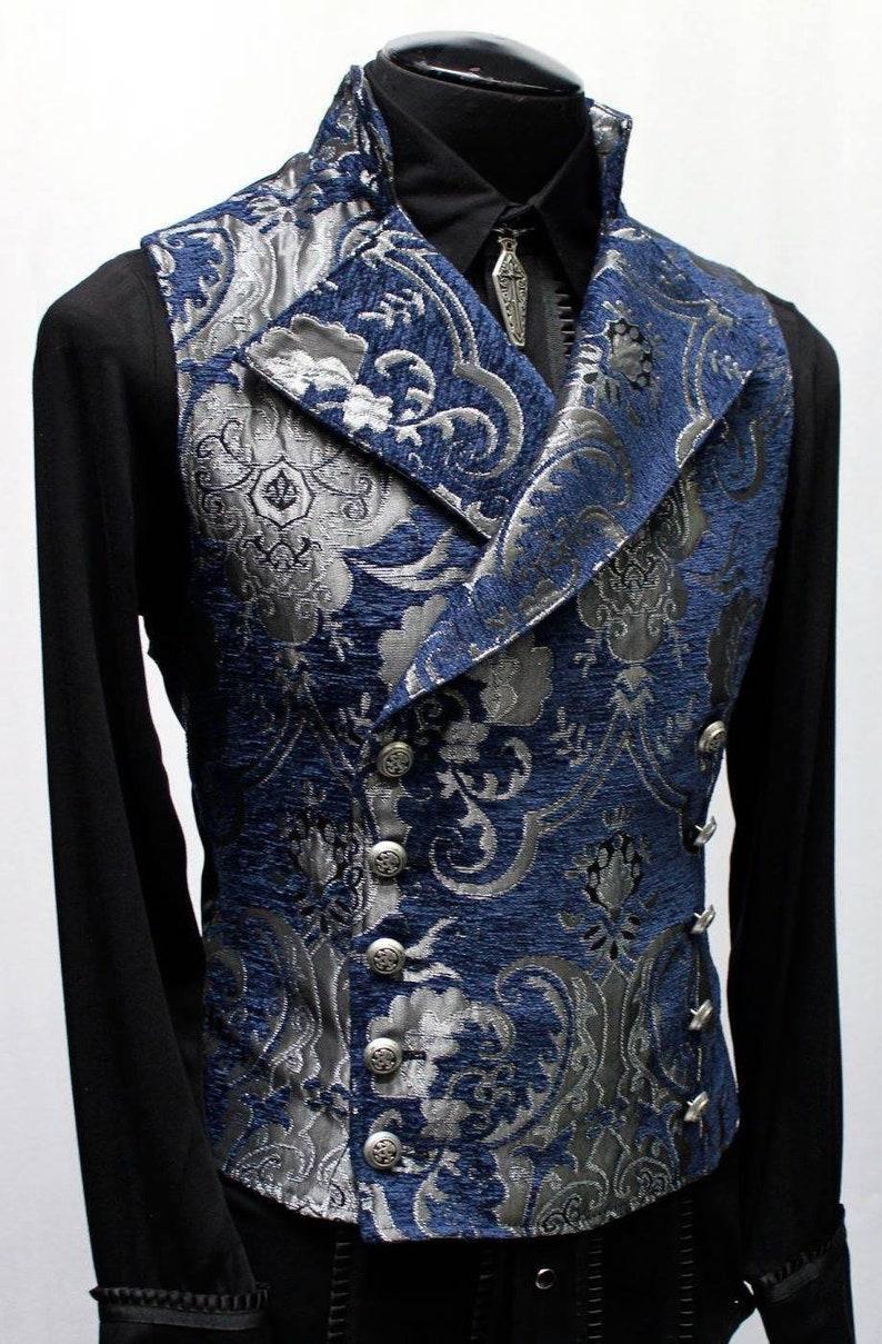 Men's Steampunk Vests, Waistcoats, Corsets CAVALIER VEST - Silver/Blue Tapestry  AT vintagedancer.com
