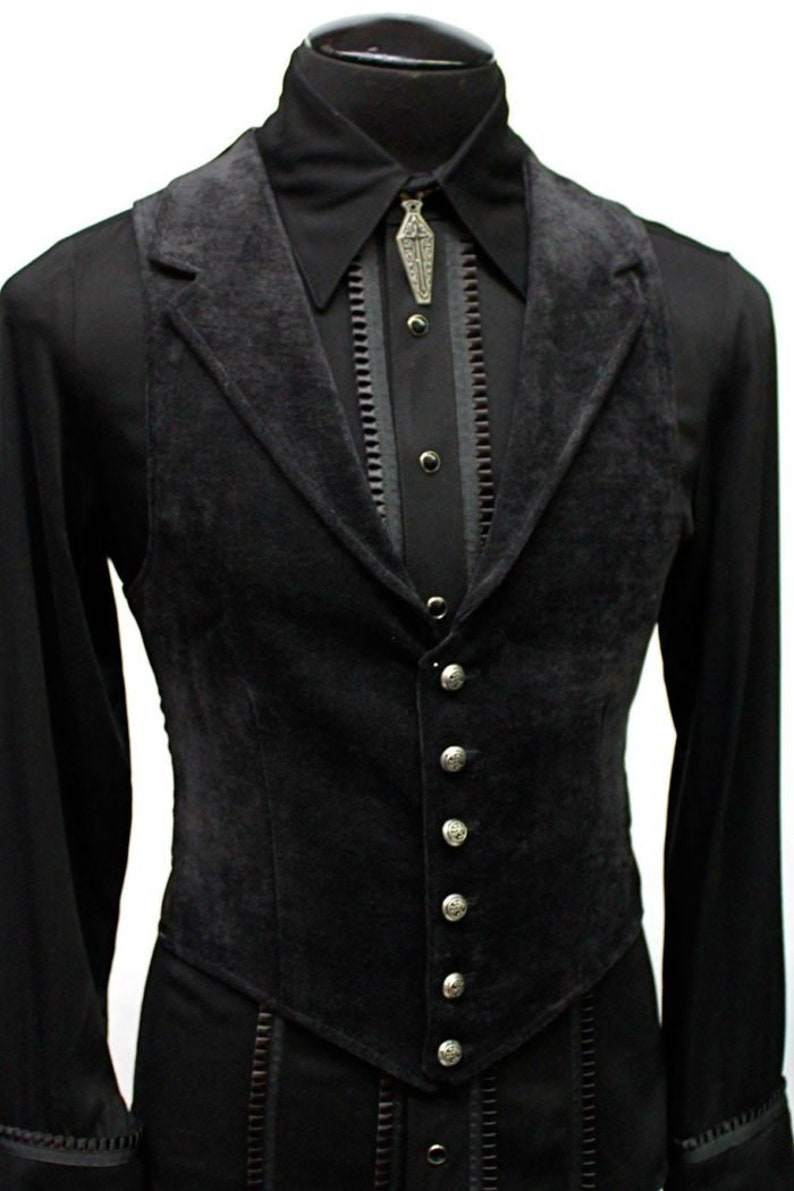 Men's Steampunk Vests, Waistcoats, Corsets ARISTOCRAT VEST - Black Velvet  AT vintagedancer.com