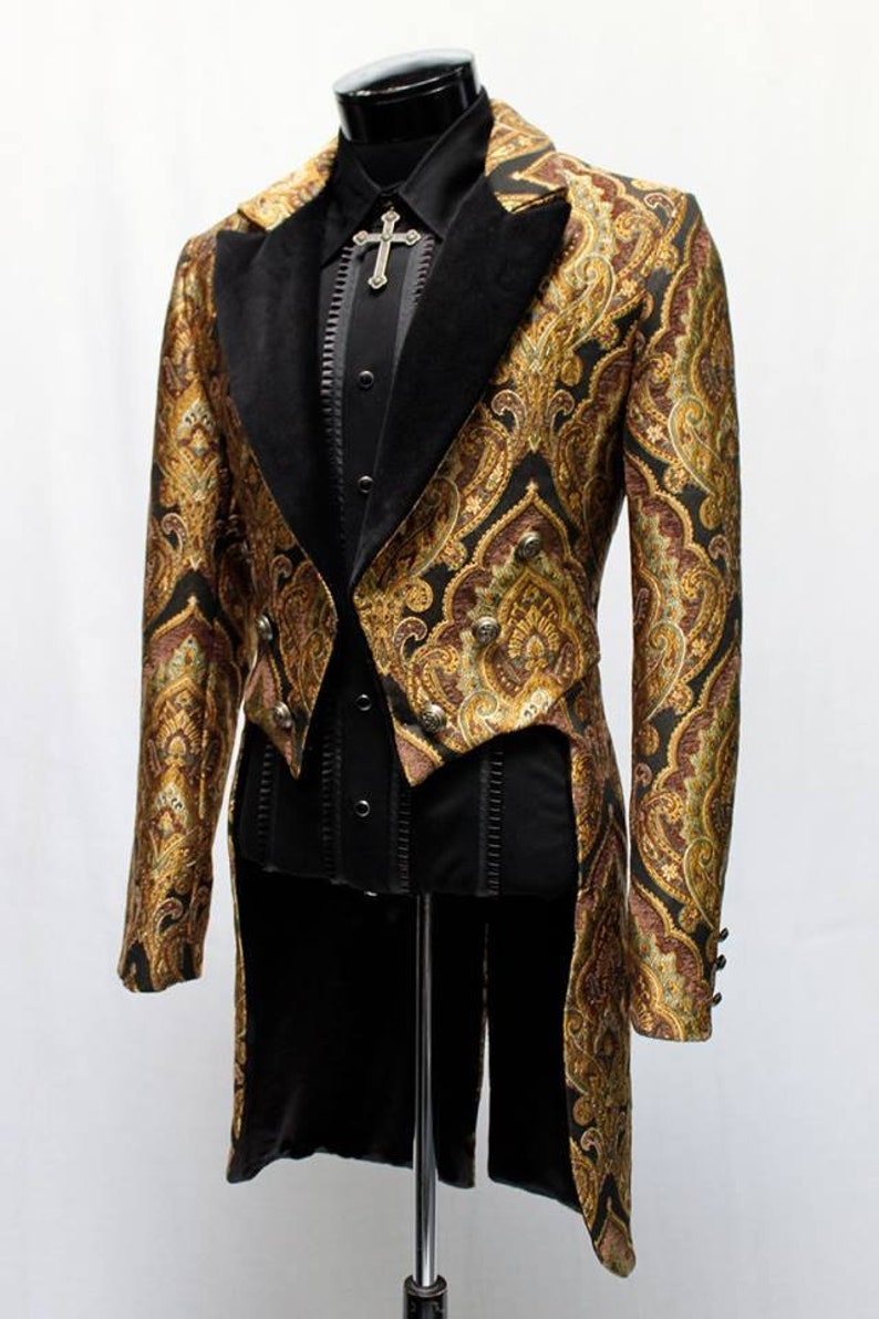 Victorian Mens Suits & Coats VICTORIAN TAILCOAT - Gold Carnival Brocade $369.00 AT vintagedancer.com