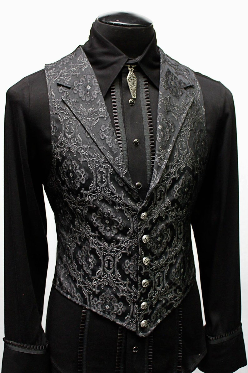 Men's Steampunk Vests, Waistcoats, Corsets ARISTOCRAT VEST - Black Edwardian Brocade Fabric  AT vintagedancer.com