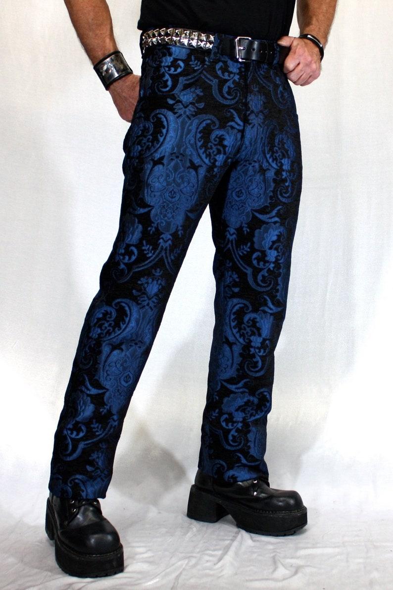 Men's Steampunk Pants & Trousers TAPESTRY PANTS - Blue/Black  AT vintagedancer.com