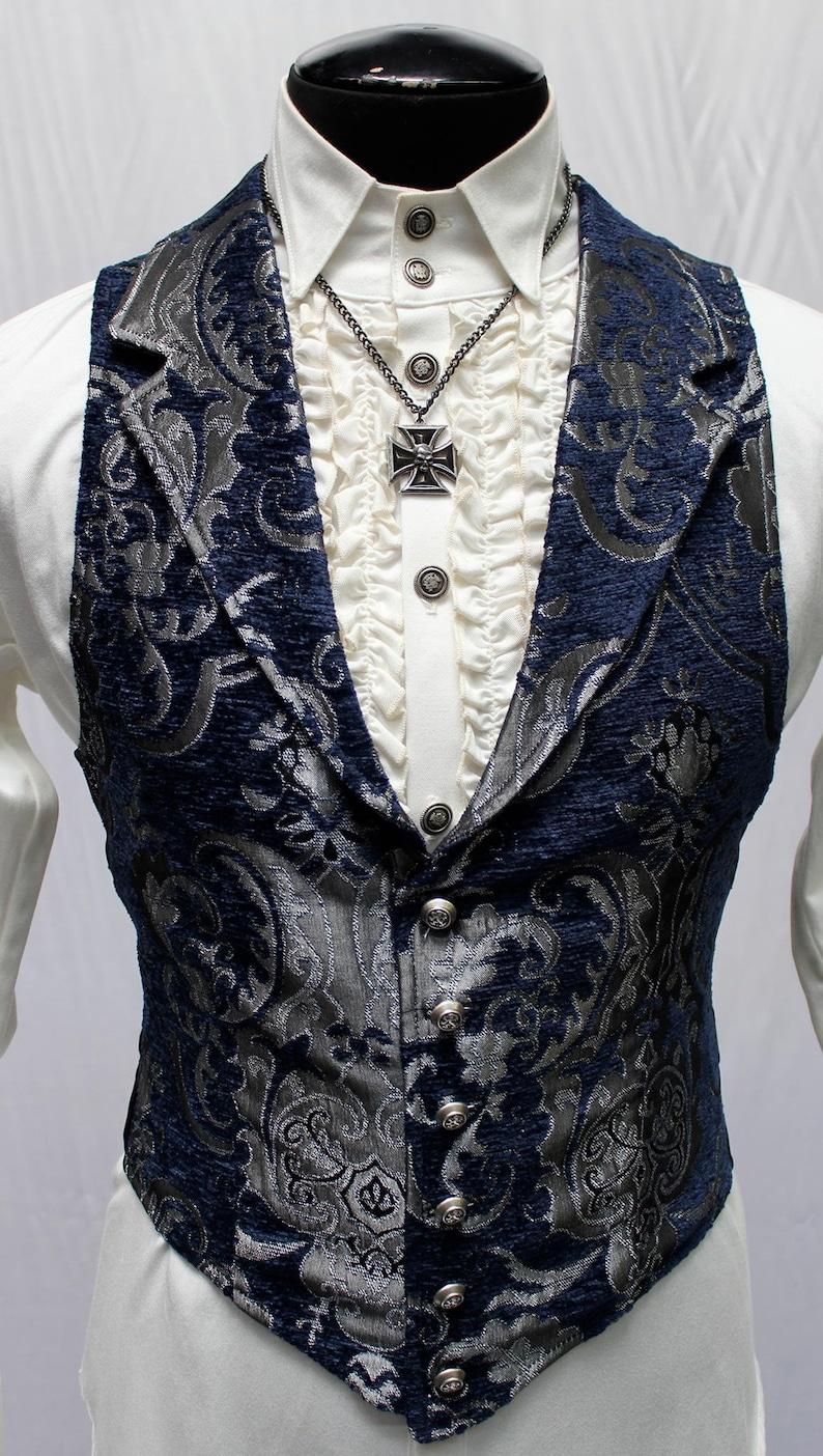 Men's Steampunk Vests, Waistcoats, Corsets ARISTOCRAT VEST - Blue/Silver Tapestry  AT vintagedancer.com