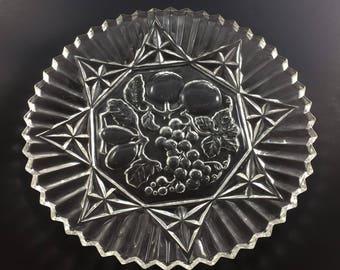 "Vintage Federal Glass Pioneer Clear 11 3/8"" Sandwich Plate Platter Fruit Motif"