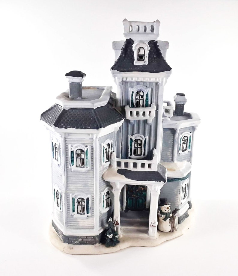 Christmas Winter Blue Ceramic Victorian Light Up House 2 Story image 0