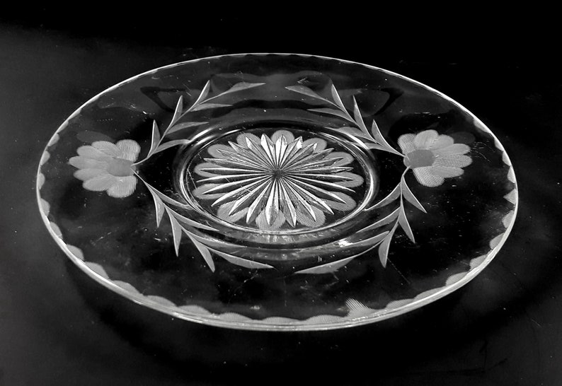 Clear Glass Etched Flower Dessert Plate 6.5 inch Set of 4 image 0