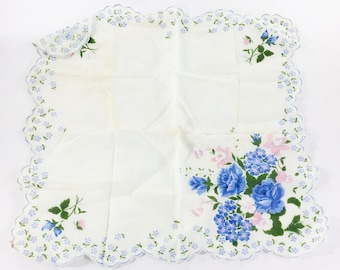 """Vintage 12"""" Dainty Hankie with Blue Roses Printed Design & Scalloped Edge"""