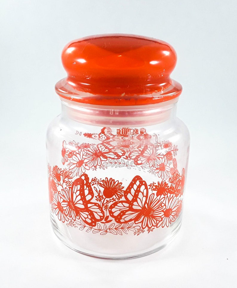 Vintage Small Glass Canister Apothecary Jar Orange Floral image 0