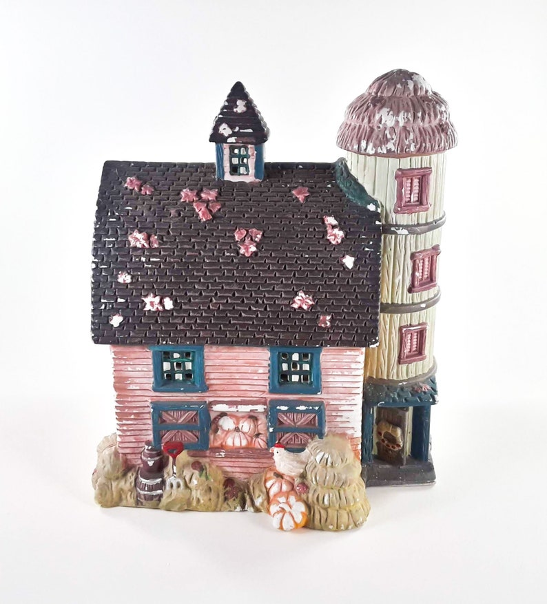 Fall Pink Ceramic Barn Silo Light Up 8 Inch image 0
