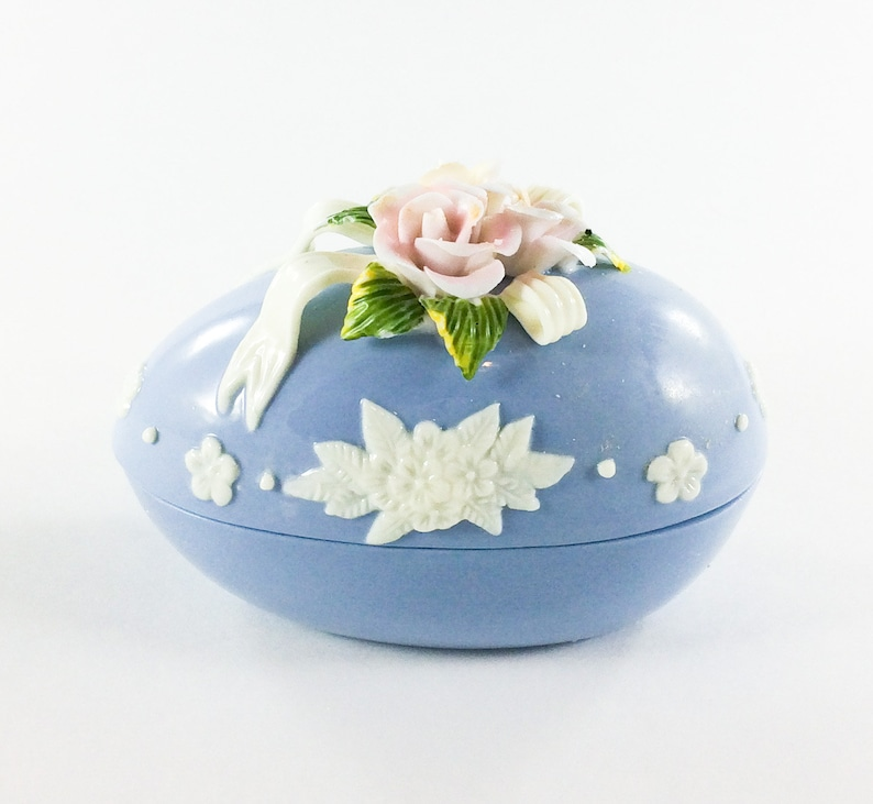 Trinket Box Blue Egg Shaped with Pink and Yellow Flowers image 0