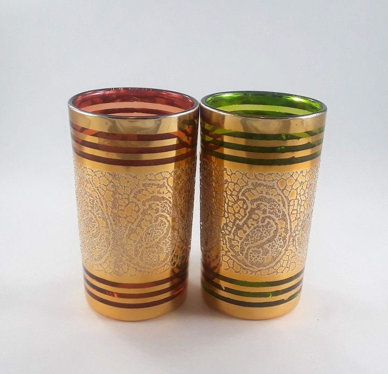 Red Green and Gold Candle Holders Made in Korea 4 Inch image 0