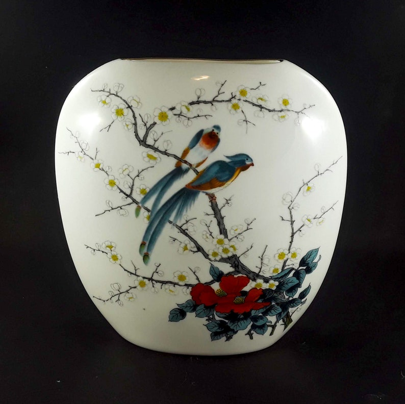Vintage Fine China Jay Of Japan White Vase With Birds and image 0