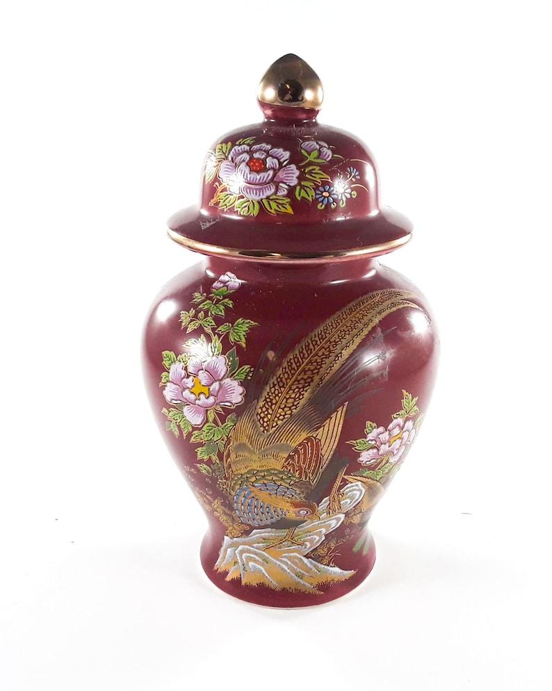 Vintage Artmark Lidded Ginger Jar with Peacocks and Flowers image 0