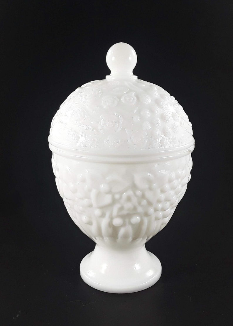Avon White Milk Glass Egg Candy Jar Dish With Lid image 0