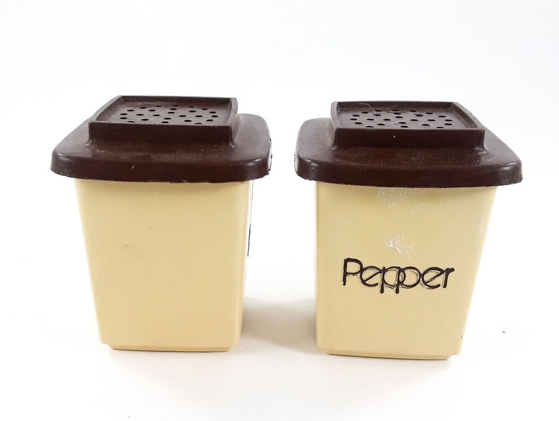 Vintage Plastic Salt and Pepper Shaker Square Tan and Brown 2 inch