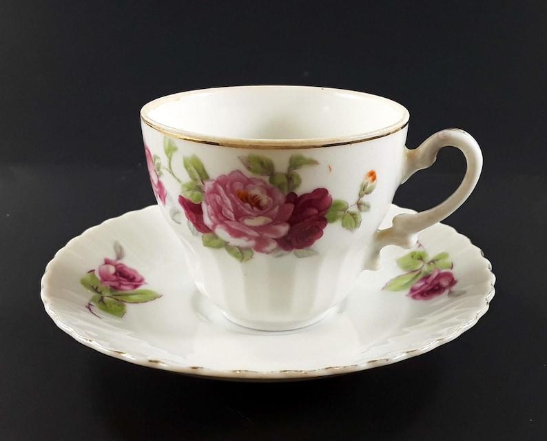 Vintage Bone China Tea Cup and Saucer Japan Pink Roses image 0