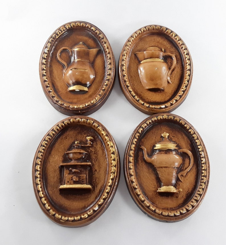 Oval Wall Hanging Brown Kitchen Chalkware Set Coffee Pot image 0