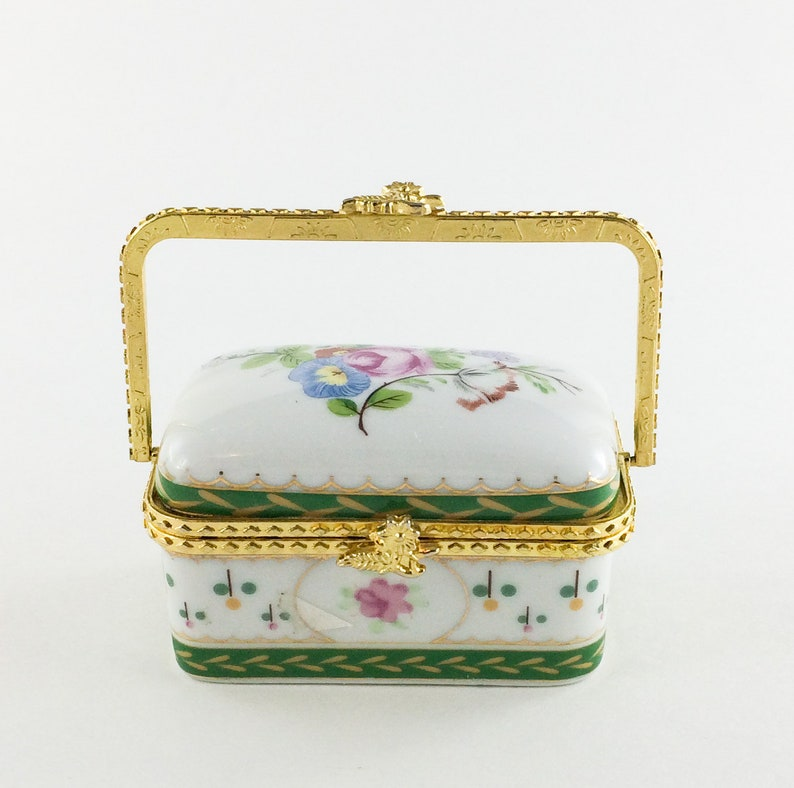 Trinket Box Green and Gold Porcelain Floral Handle Girl Gift image 0
