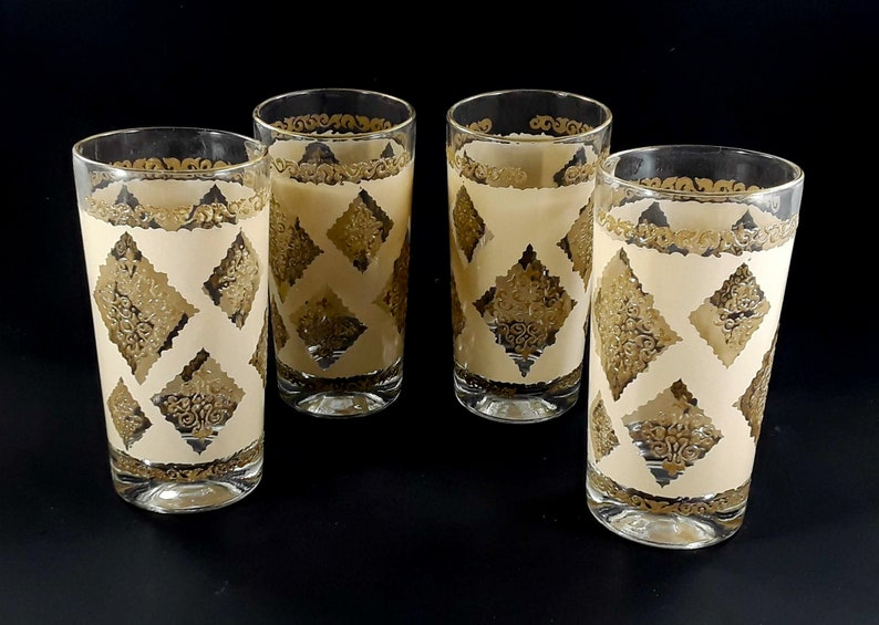 Glass Tumbler Set Continental Can Company Diamond Patchwork image 0