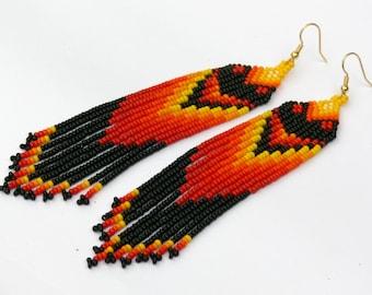 Native American Earrings Inspired. Red Black Yellow Dangle Earrings. Beaded Jewelry