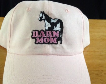 Barn Mom Unstructured cotton horse themed baseball cap hat d9dcbf8323e7