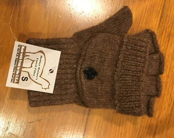 US Made Alpaca Knit Gloves- Glittens Brown Color, Size Small
