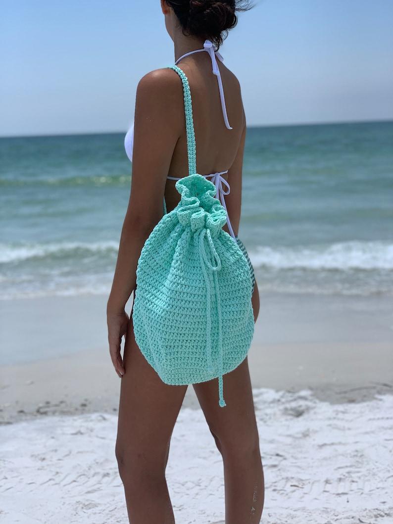 Mint Boho Drawstring Bucket BagCrochet BagBeach BagShoulder BagCotton BagMarket Bag