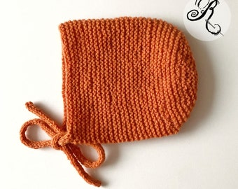 100% Cashmere Baby Bonnet - Orange - handknitted - Cashmere Baby Bonnet - unisex - vintage style - size 0-3 months - ready to ship