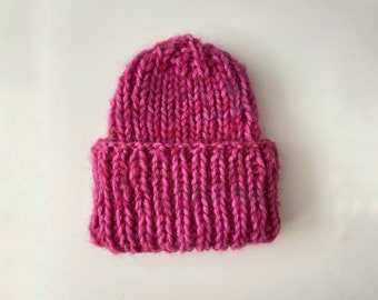 THE CHUNKY COZY - Beanie Hat - Pink - Hand Knitted - 100% soft merino wool extrafine plus mohair - Gift Idea - One Size
