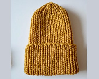 Beanie Hat - Color Mustard Yellow - Hand Knitted - 100% thick soft merino wool extrafine - Gift Idea - Women - Winter