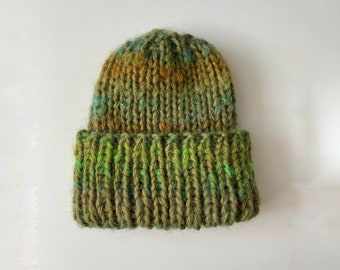 THE CHUNKY COZY - Beanie Hat - Green - Hand Knitted - 100% soft merino wool extrafine plus mohair - Gift Idea - One Size