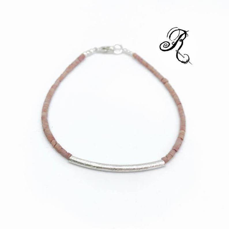 Delicate  Pink-Opal Bracelet with silver plated beaded image 0