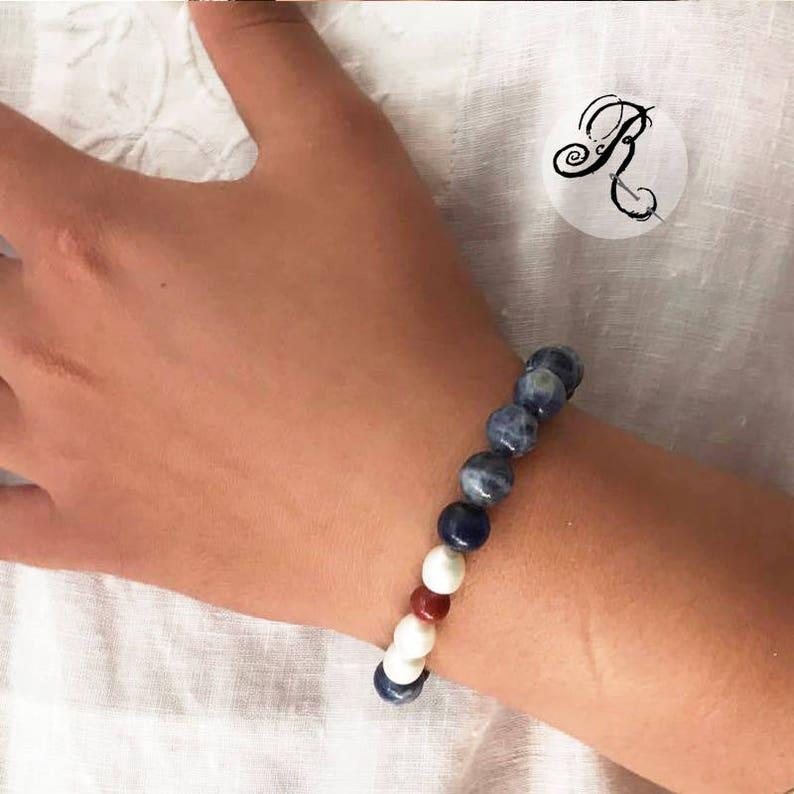 SELVEDGE DENIM bracelet  Sodalite  Red Jasper  freshwater image 0