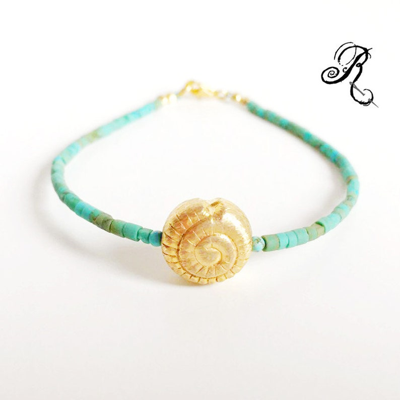 Shell bracelet with fine natural turquoise beads and image 0