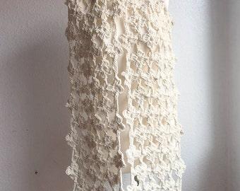 Crochet Maxi Flower Scarf ~ Scarf ~ chunky wool/ alpaca ~natural color / 200cm x 30cm